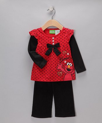 Red & Black Elmo Layered Tunic & Pants - Infant