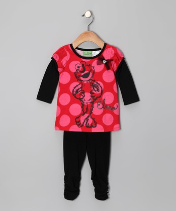 Black 'Elmo' Layered Tunic & Leggings - Infant