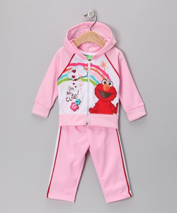 Light Pink Elmo Zip-Up Hoodie & Track Pants - Infant
