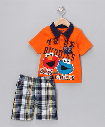 Mandarin Orange Polo & Plaid Shorts - Infant