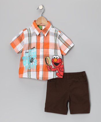 Orange Plaid Elmo Button-Up & Shorts - Infant