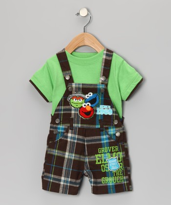 Light Green Tee & Plaid Elmo Shortalls - Infant
