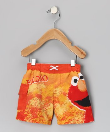Orange Elmo Swim Trunks - Infant