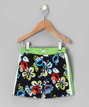 Green Hawaiian Sesame Street Swim Trunks - Toddler