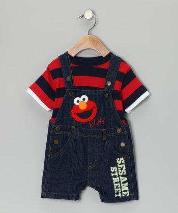 Red Stripe Tee & Elmo Denim Shortalls - Infant
