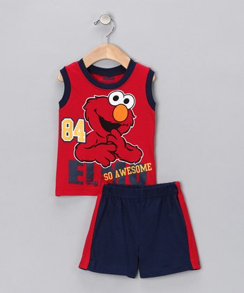 Red & Navy 'So Awesome' Elmo Tank & Shorts - Infant