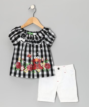 Black Gingham Elmo Top & White Shorts - Infant