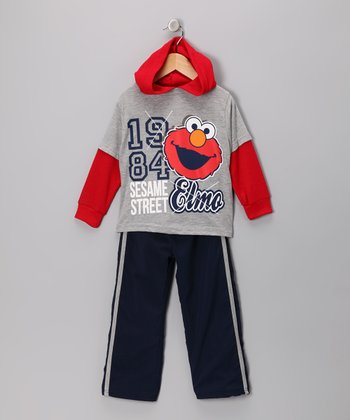 Gray Elmo Layered Tee & Track Pants - Infant