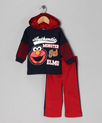 Navy & Red Elmo Layered Tee & Pants - Infant