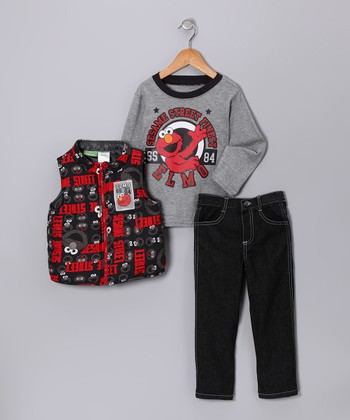 Gray & Red 'Sesame Street' Vest Set - Infant