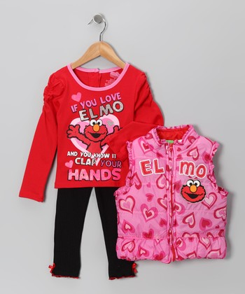 Pink Heart Elmo Puffer Vest Set - Infant