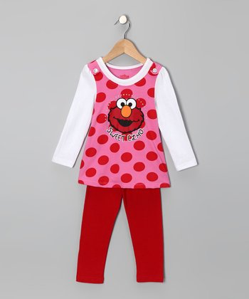Red Elmo Polka Dot Tunic & Leggings - Toddler