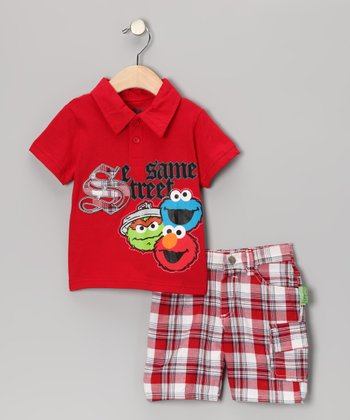 Red 'Sesame Street' Polo & Plaid Shorts - Infant