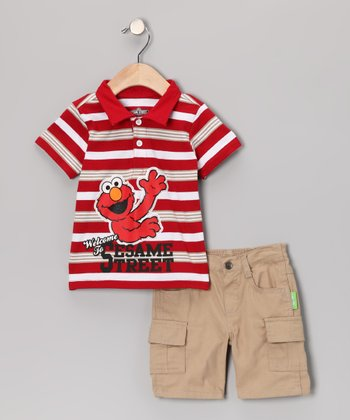 Red Stripe Elmo Polo & Cargo Shorts - Toddler