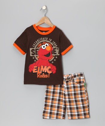Brown & Orange Elmo Tee & Shorts - Infant