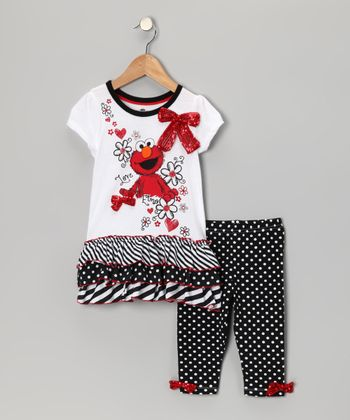 White & Gray Elmo Tunic & Leggings - Toddler