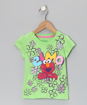 Green 'Elmo' Flower Tee - Toddler