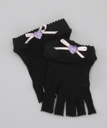 Black Heart Fishnet Gloves
