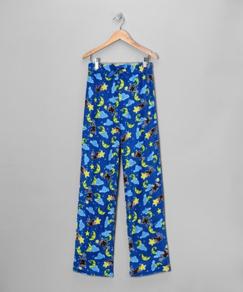 Light Blue Monkey Moon Pajama Pants