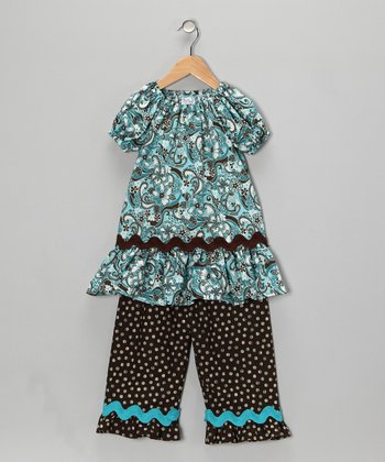 Brown & Turquoise Peasant Top & Pants - Toddler & Girls