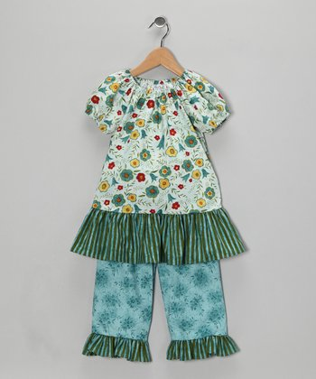 Teal Stripe Peasant Top & Capri Pants - Infant, Toddler & Girls
