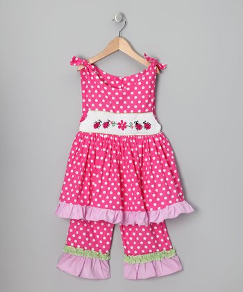 Hot Pink Ladybug Tunic & Capri Pants - Infant, Toddler & Girls