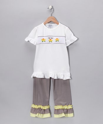 Yellow Sunflower Tee & Ruffle Pants - Infant, Toddler & Girls