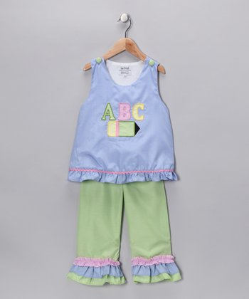 Blue 'ABC' Top & Ruffle Pants - Infant, Toddler & Girls