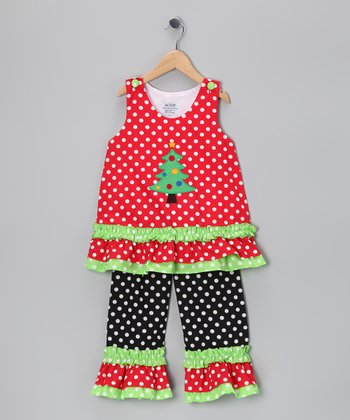 Red & Black X-Mas Tree Top & Pants - Infant, Toddler & Girls