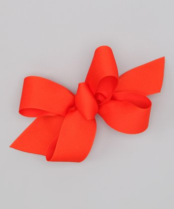 Dark Orange Bow Clip