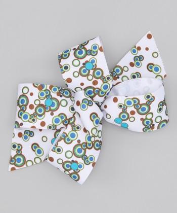 White & Blue Geo Bow Clip