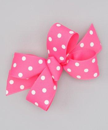 Hot Pink Polka Dot Bow Clip