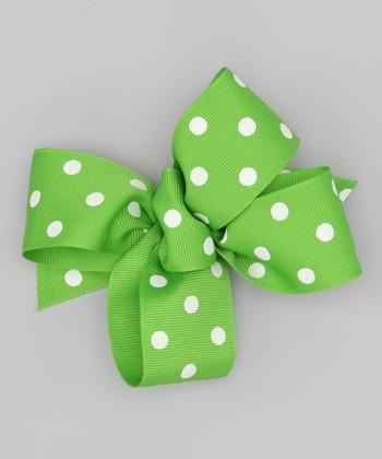 Lime Polka Dot Bow Clip