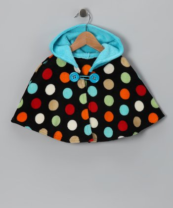 Black & Turquoise Polka Dot Poncho - Infant, Toddler & Girls