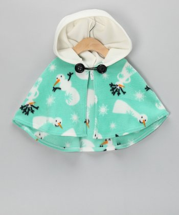 Mint Snowman Poncho - Infant, Toddler & Girls