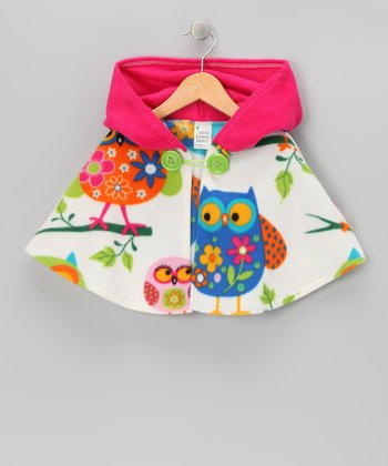 Pink Owl Hooded Cape - Infant, Toddler & Girls