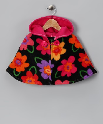 Pink & Black Floral Poncho - Infant, Toddler & Girls