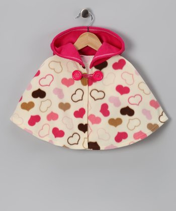 Pink & Cream Sweetheart Poncho - Infant, Toddler & Girls
