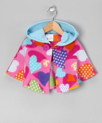 Pink Tossed Heart Hooded Cape - Infant, Toddler & Girls