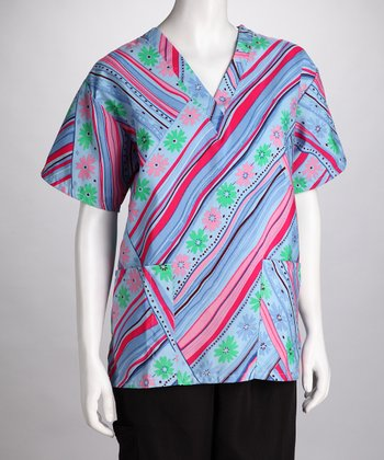 Pink Abstract Line Scrub Top