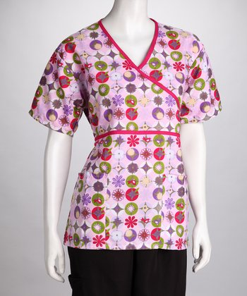 Pink Dot Scrub Top