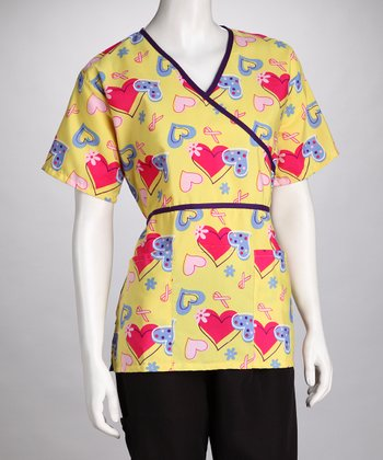Yellow Hearts Scrub Top - Women & Plus