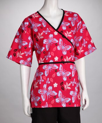 Red Butterfly Scrub Top