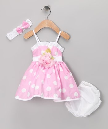 Pink & White Polka Dot Dress Set - Infant