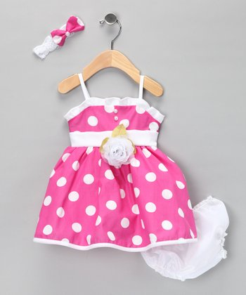 Fuchsia Polka Dot Flower Dress Set