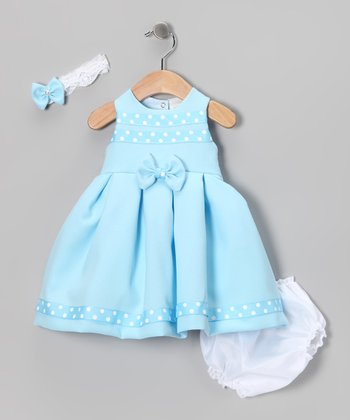 Light Blue Polka Dot Bow Dress Set - Infant