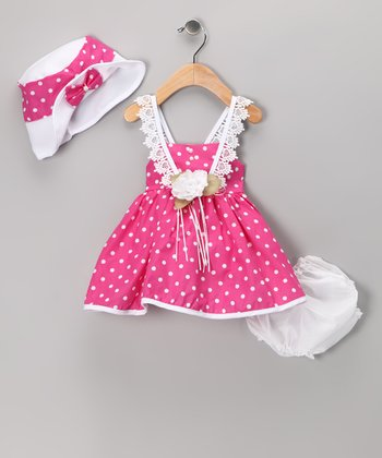 Hot Pink Polka Dot Dress Set - Infant