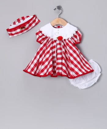 Red Plaid Yoke Dress Set