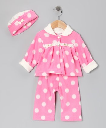 Pink Polka Dot Fleece Pants Set - Infant