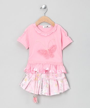 Pink Butterfly Tee & Skirt - Infant & Toddler
